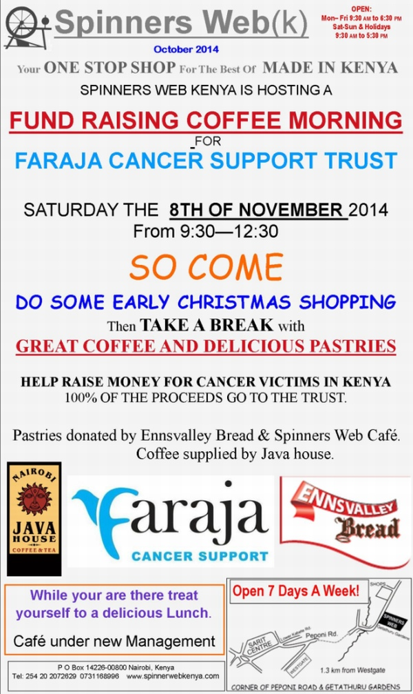 Faraja Cancer Support Trust fundraiser @ Spinners Web